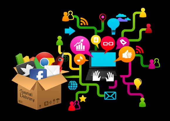 Una-caja-con-iconos-de-redes-sociales-y-un-ordenador-del-que-salen-símbolos