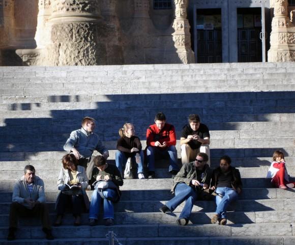 estudiantes escalinata